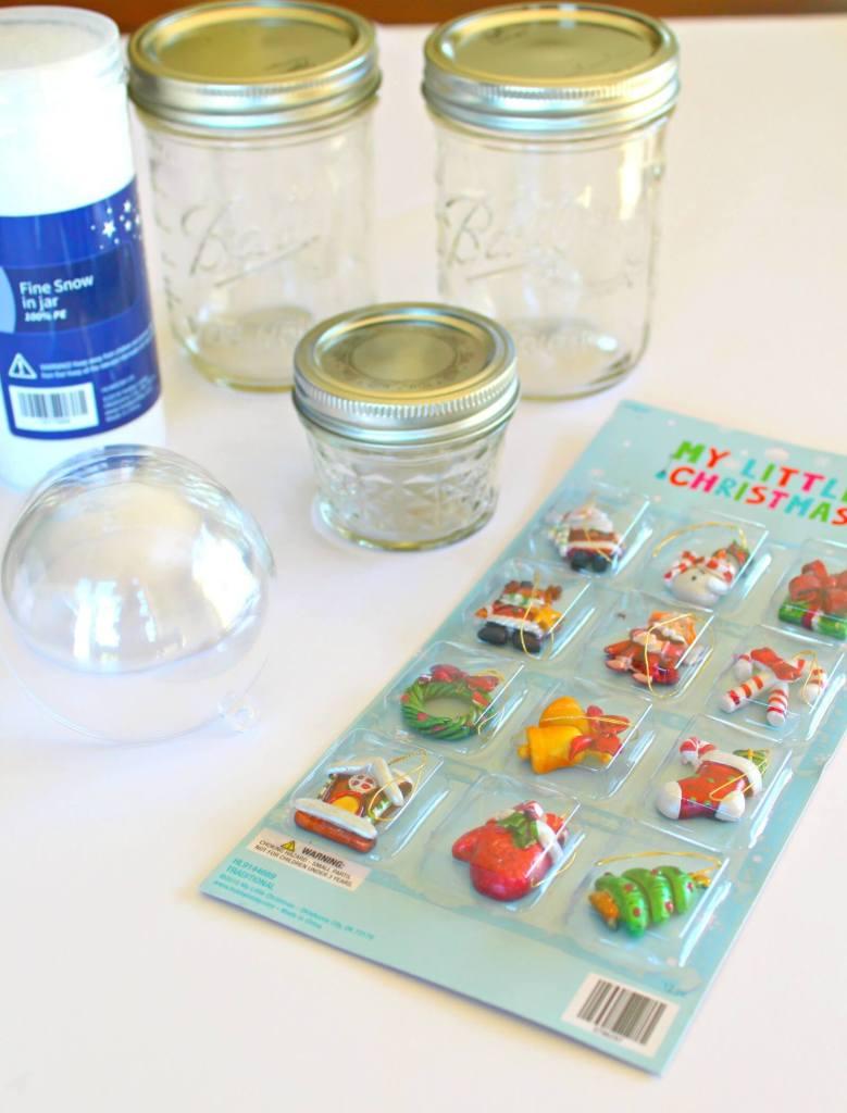 Supplies for Mason Jar Snow Globes