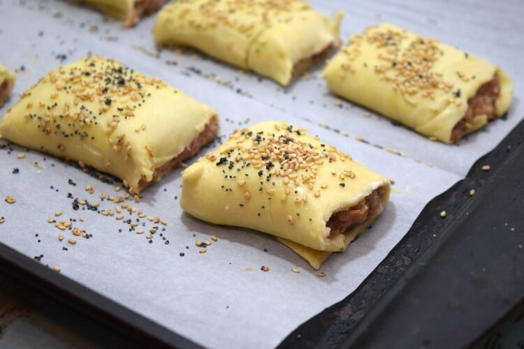 Sausage Meatloaf Rolls with sesame and poppy seeds