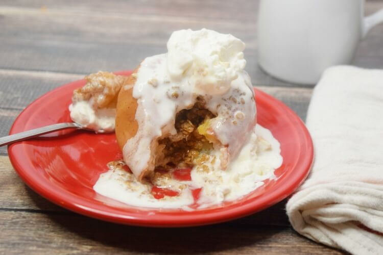 Baked Apples in the Slow Cooker topped with Whipped Cream