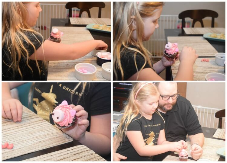 Making Year of the Pig cupcakes together
