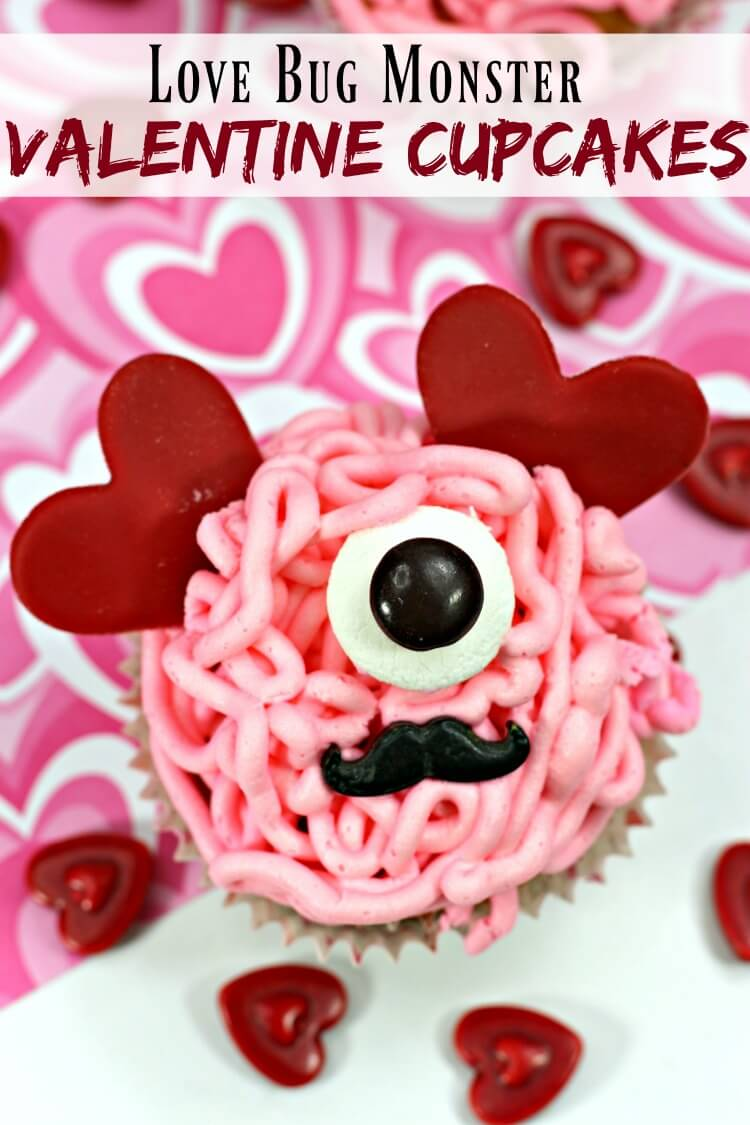 Love Bug Monster Valentine Cupcakes