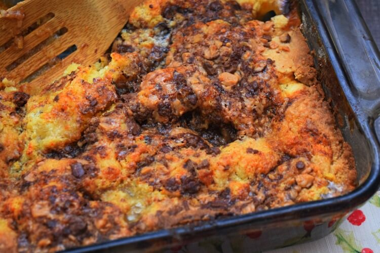Peach Dump Cake with Milk Chocolate Toffee Bits