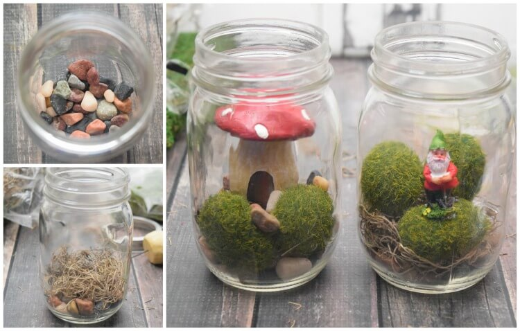 Layering your gnome jar in rocks, spanish moss, and moss rocks before placing your gnome in his new home.
