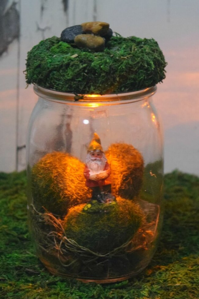 These Gnome Mason Jars are perfect to keep in the bedroom for children who need a little light.