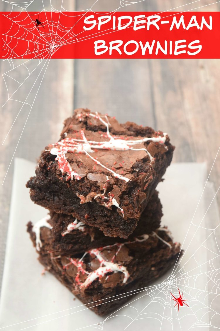 Spider-Man Brownies made with marshmallow spider webs.