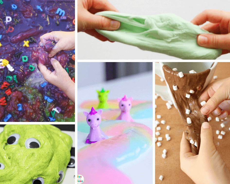 Slime Recipe Collage with monster slime, ABC slime, unicorn slime, gummy bear slime, and hot chocolate slime