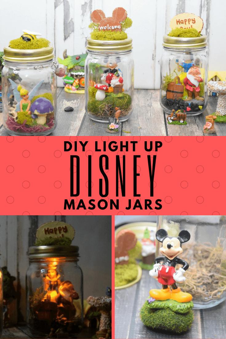Diy Light Up Disney Mason Jars The Tiptoe Fairy