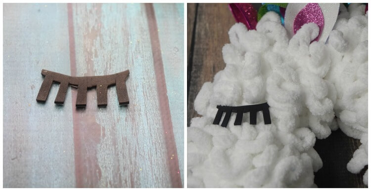 Make a closed eye with eyelashes for the Unicorn Wreath.