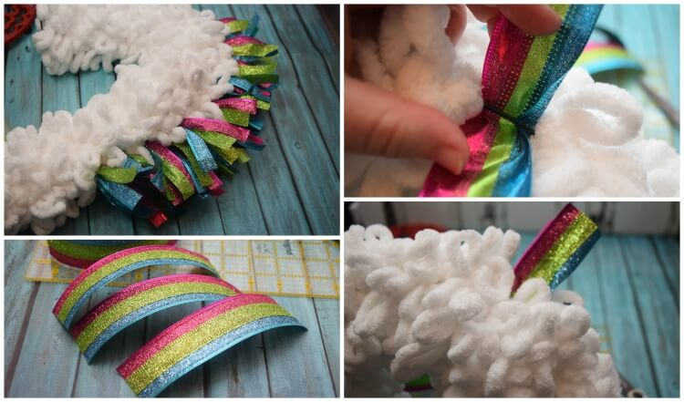 This collage shows how to make the Unicorn Wreath mane using a 2 1/2 inch tri color ribbon.