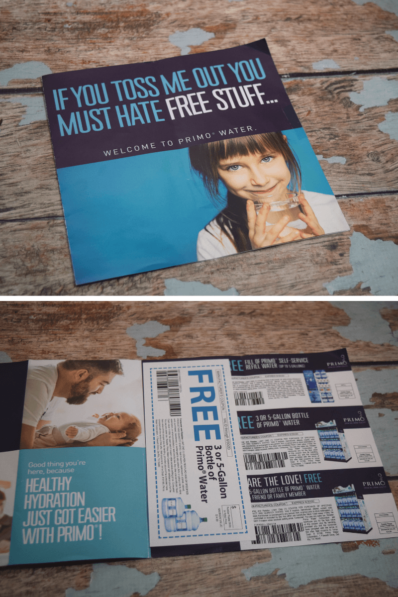 Here's the flyer you'll get in the mail after getting a Primo Water Dispenser with all the coupons for free water.