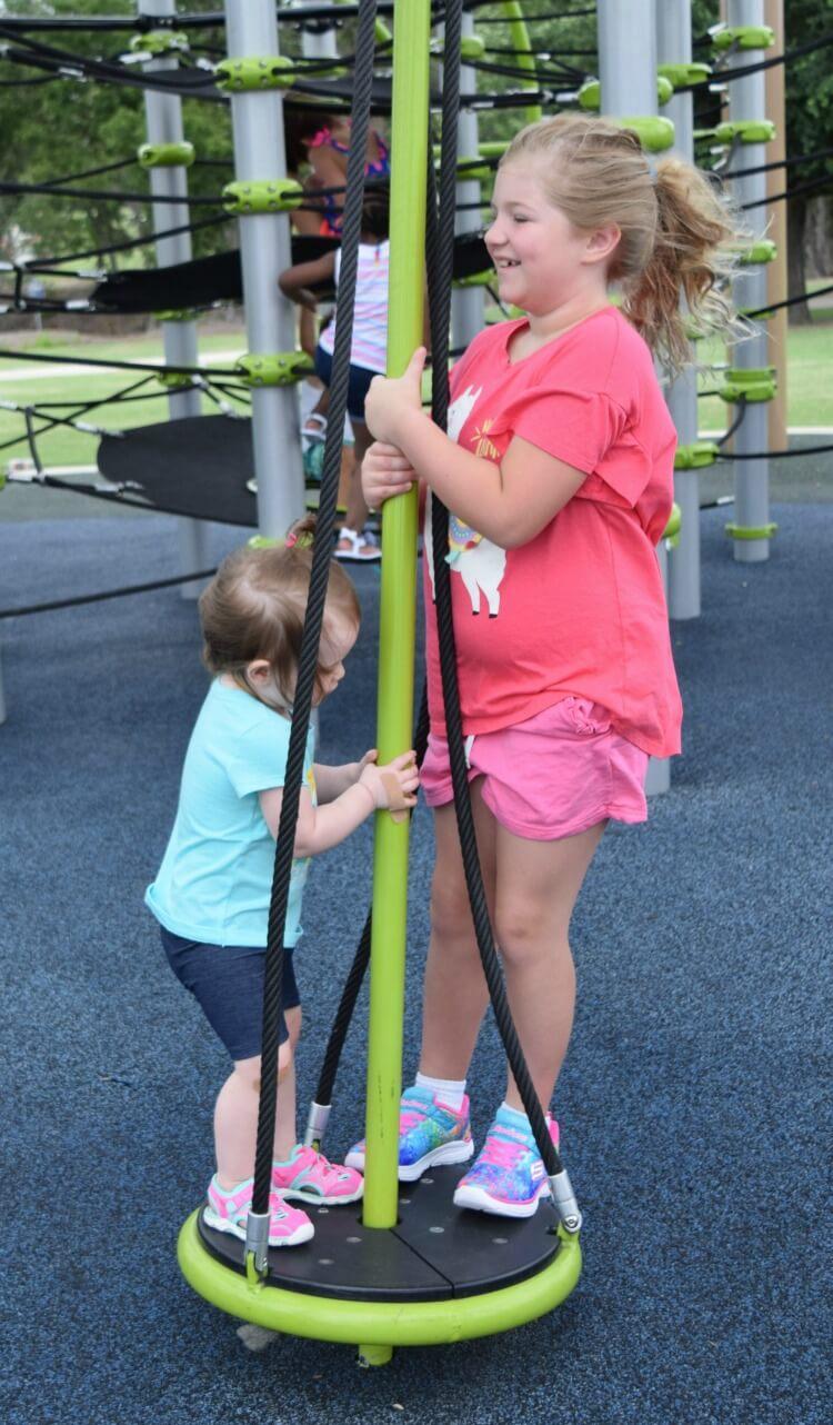 Swinging around on the playground