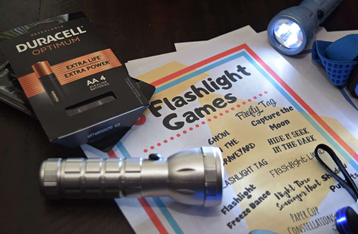 Duracell Optimum batteries are dependable to keep your flashlights going for fun games.