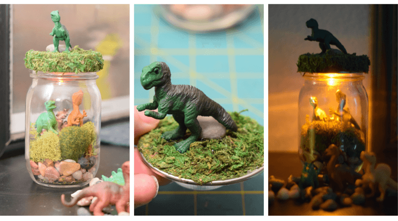 Both light and unlit views of the DIY Dinosaur Terrarium Nightlight in a Mason Jar in a collage