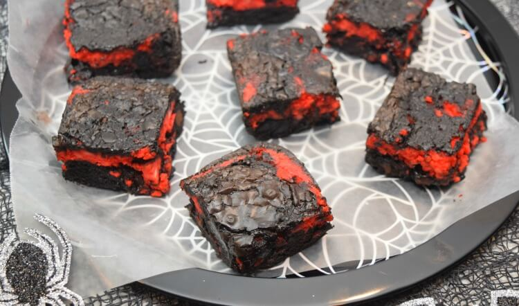 Spider web plate full of Brimstone Brownies