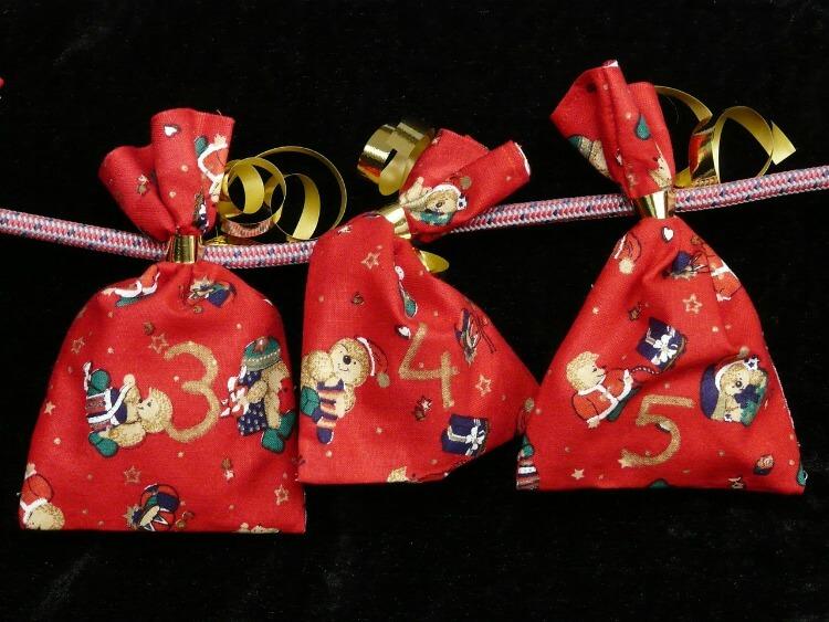 Cloth bags for a DIY Christmas Advent Calendar