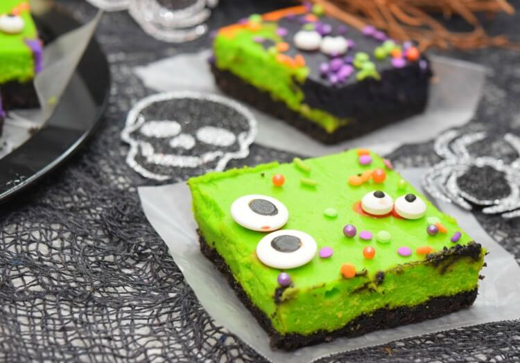 Close up of Monster Mash Halloween Cheesecake Bars