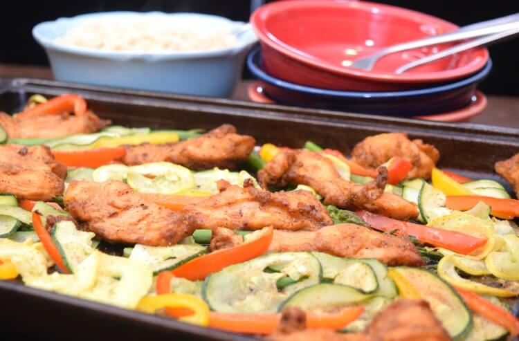 The sheet pan of veggies and Blackened Tyson Chicken Strips