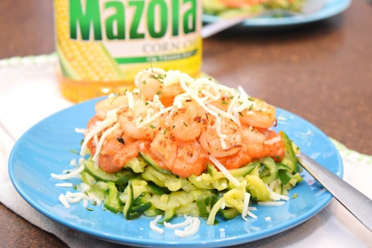 A close up of Shrimp and Zucchini Noodles in Creamy Tomato Sauce