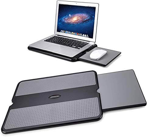 AboveTEK Portable Laptop Lap Desk w/Retractable Left/Right Mouse Pad Tray