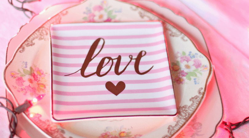 Pretty place setting for a Valentine's Day party