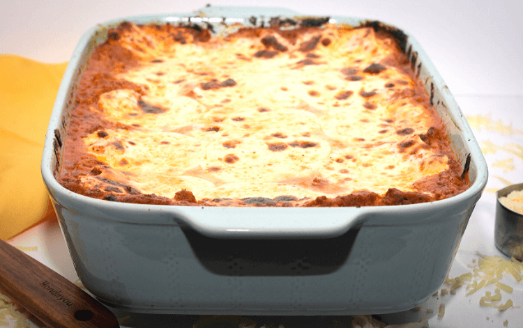 Finished view of the most Amazing Meat Lasagna