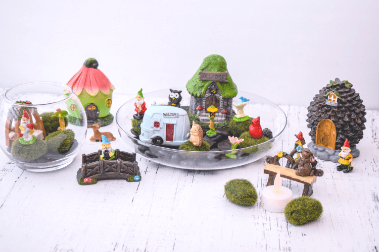 A full view of a fairy garden play set from the Dollar Tree.