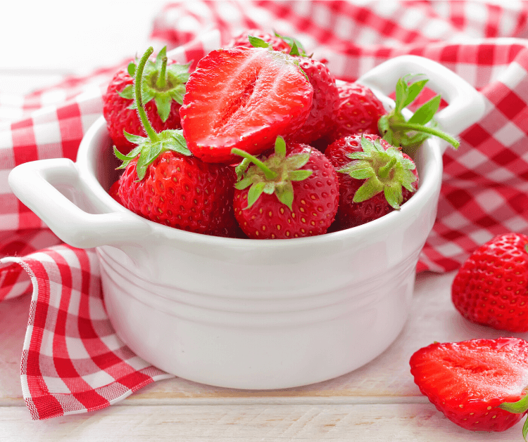 A fresh basket of strawberries.
