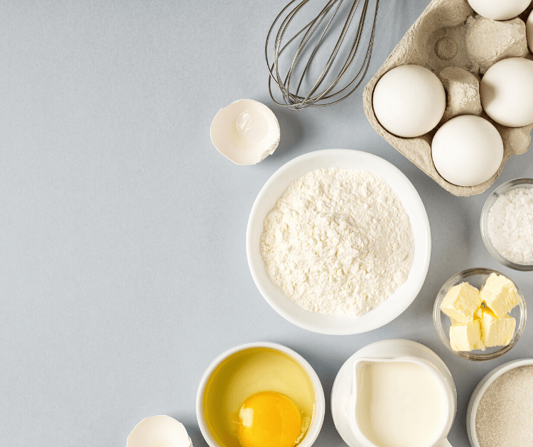 Eggs, flour, butter, milk - simple substitutions