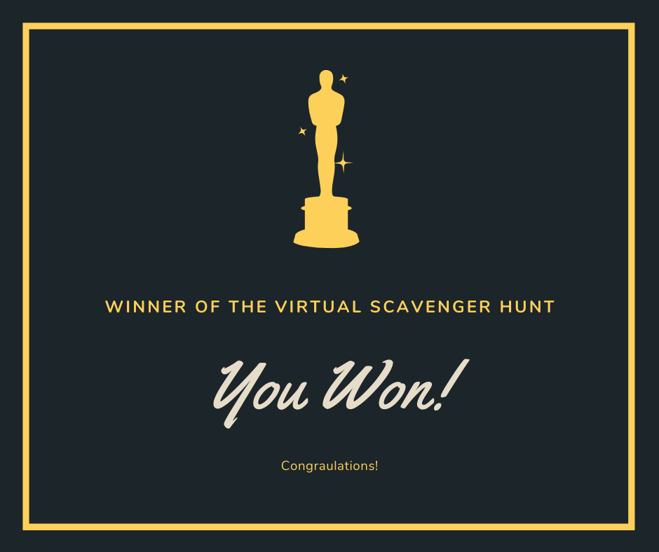 A black and gold certificate with a gold oscar image for the scavenger hunt winner