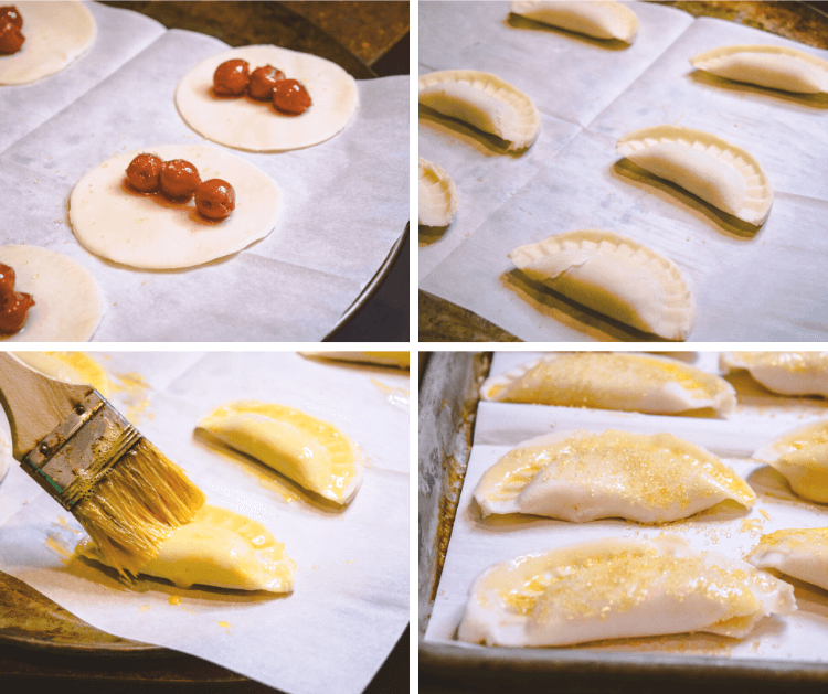 A collage of images of how to make mini tart cherry hand pies.