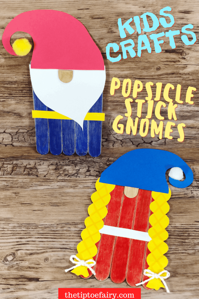 Close up images of the boy and girl Popsicle Stick Gnomes