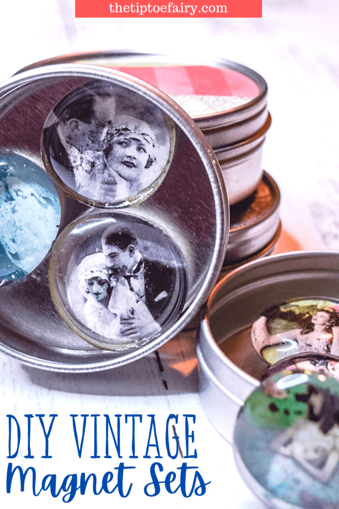 A close up image of the magnet sets to make with vintage images for DIY Magnets.