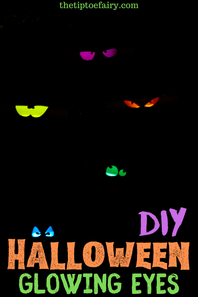 Halloween Glowing Eyes on a black background.