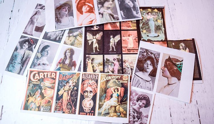 A pile of various vintage images to make DIY Magnets.