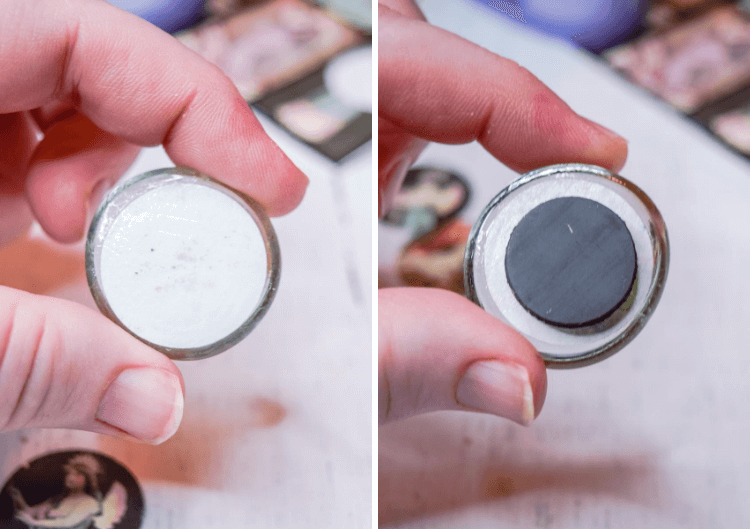 A collage showing how to add the magnet to the back of the cabochon.