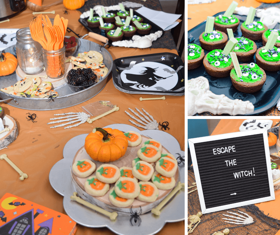 The Halloween tablescape full of treats and eats for the Halloween escape room at home.