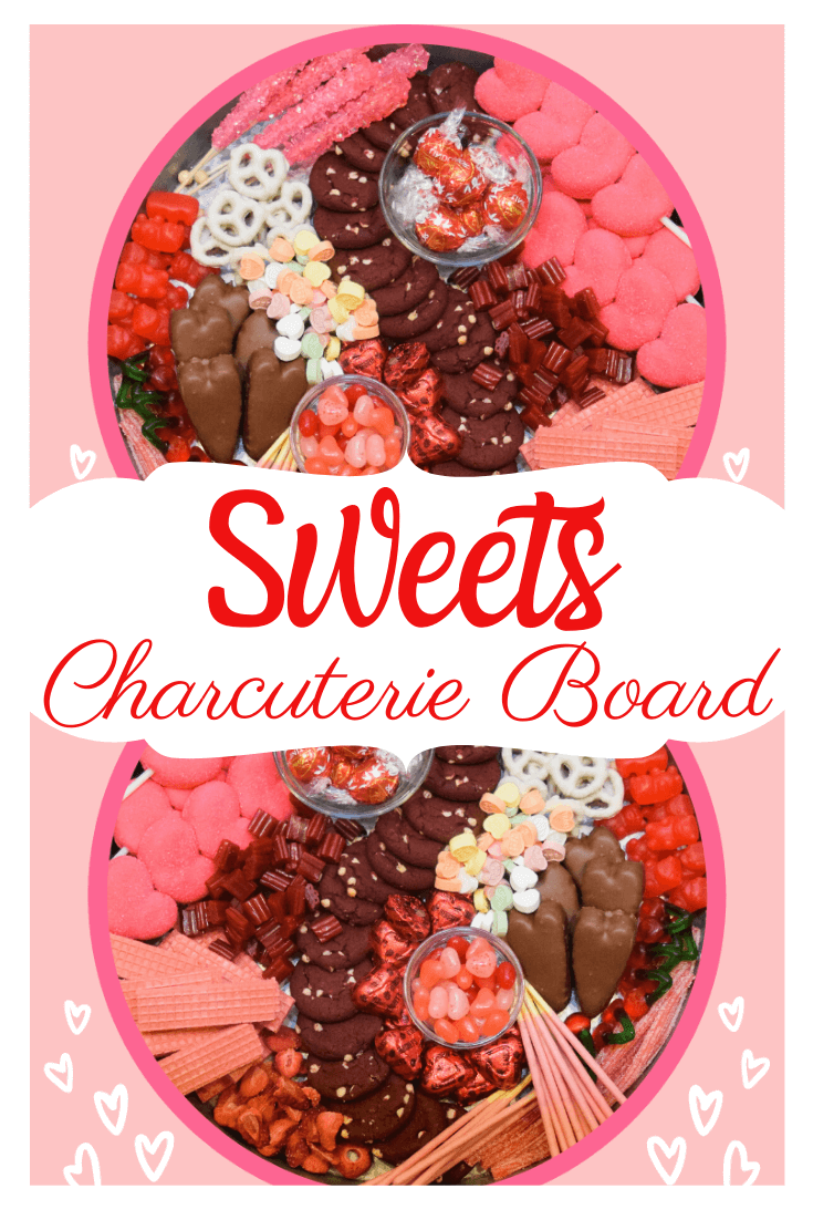 Double vision of Sweets Charcuterie Board for Valentine's Day