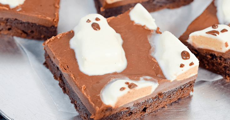 Halloween Peanut Butter Ghost Fudge Frosted Brownies