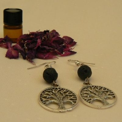 Tree of Life Lava Stone Aromatherapy Earrings