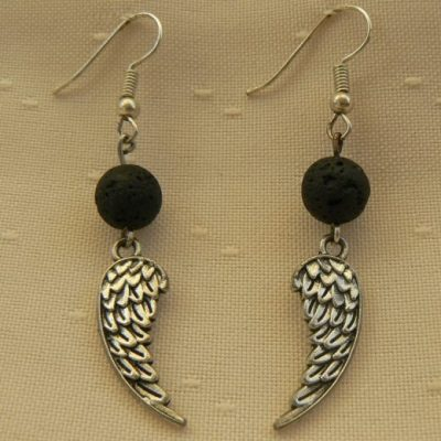 Angel Wing Lava Stone Aromatherapy Earrings