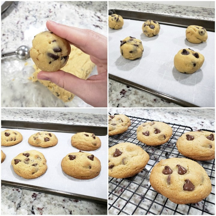 Rolling cookie dough balls and placing them on a baking sheet.