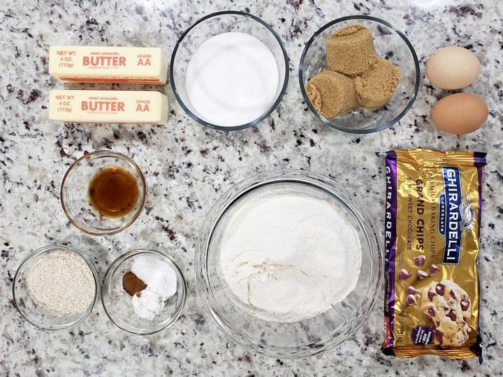 Ingredients to make chocolate chip cookies.