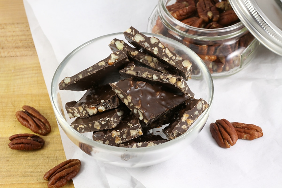 Dark Chocolate Pecan Toffee Bark by The Toasty Kitchen