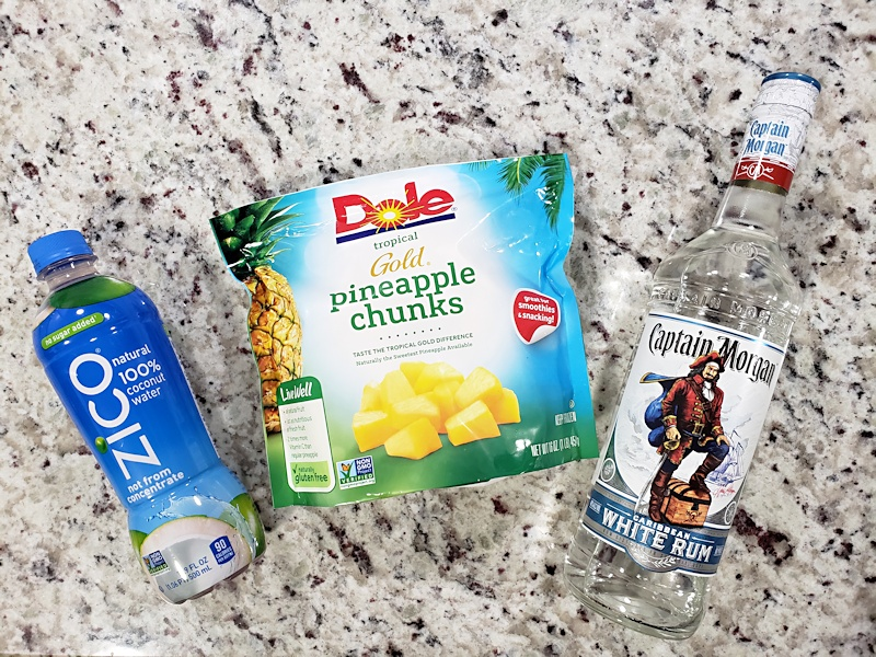 Ingredients to make pineapple rum slush.