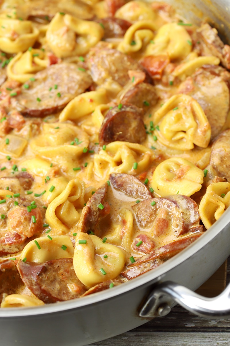 Tortellini and andouille sausage in a cheese sauce.