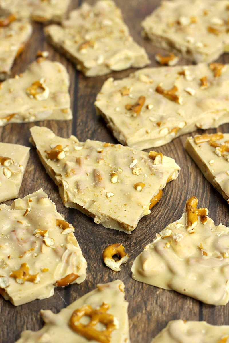 Peanut Butter Pretzel White Chocolate Bark by The Toasty Kitchen