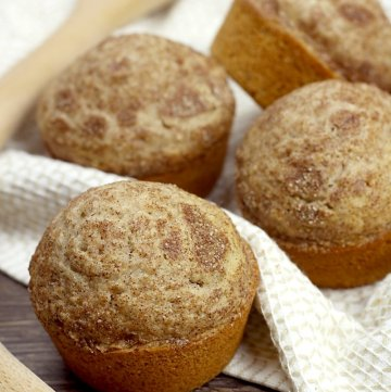 Cinnamon sugar coating on top of a muffin.
