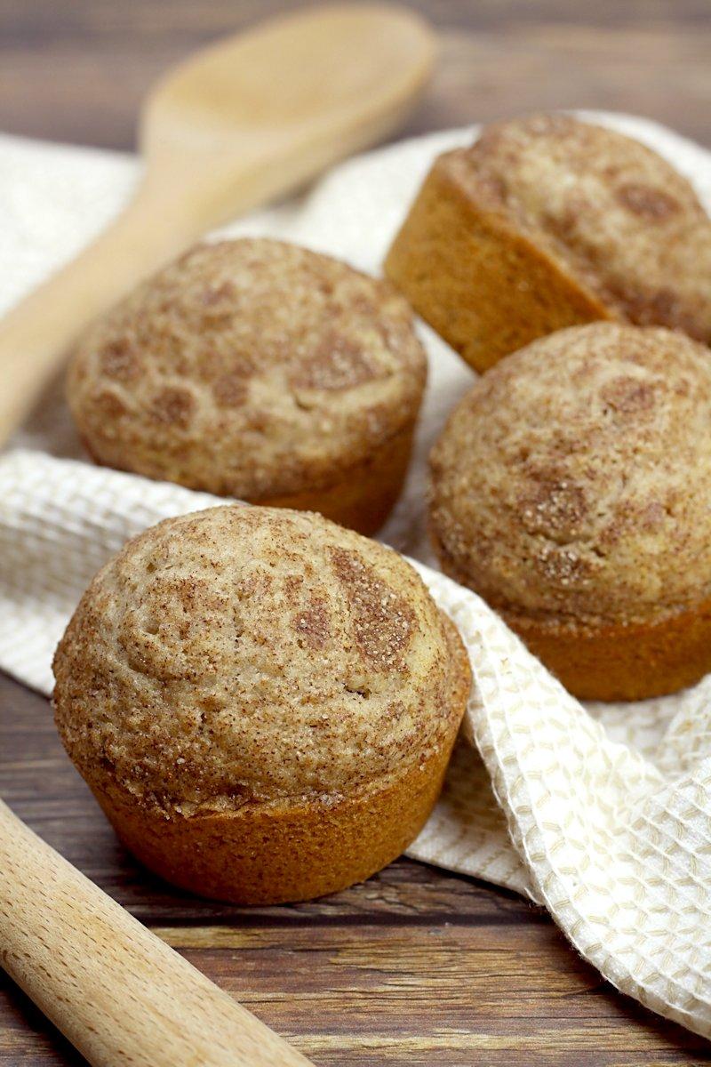 Cinnamon sugar coating on top of a muffin.