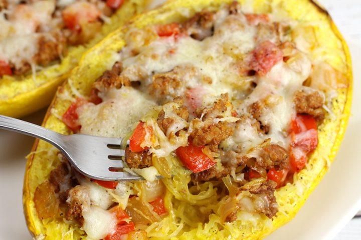 Chorizo Stuffed Spaghetti Squash by The Toasty Kitchen