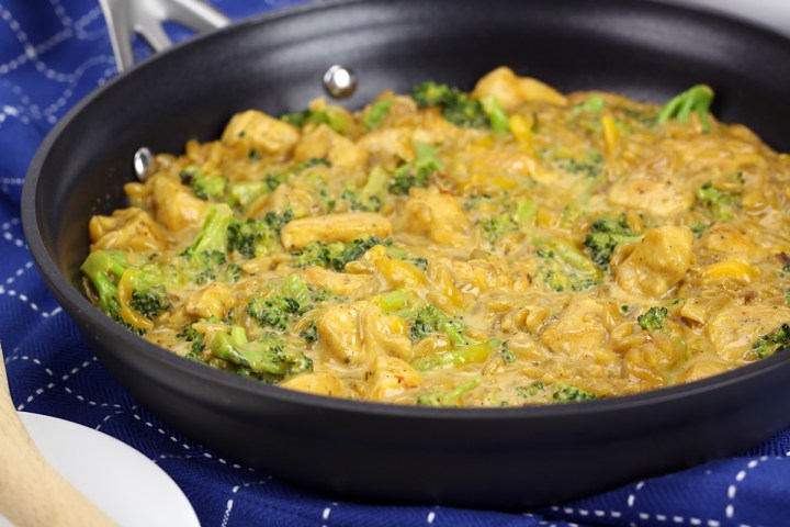 Cheesy Chicken Broccoli and Orzo Skillet Meal by The Toasty Kitchen